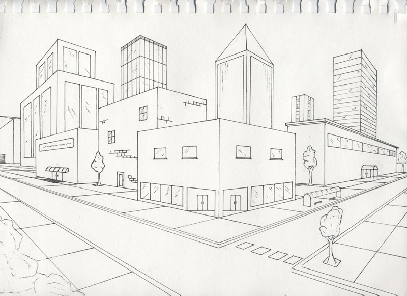 2 Point Perspective Drawing  House http://gossipisanimationclass.blogspot.com/2012/10/day-6-characterizing-bouncing-ball.html