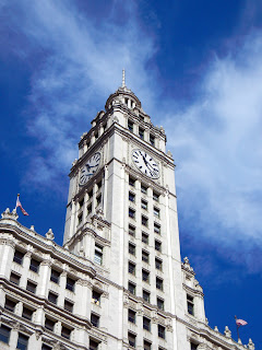 Clock tower of the Wrigley Building on Michigan Avenue in downtown Chicago, Illinois