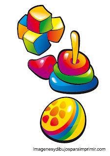 Cubos, pelotas piezas para ordenar juguetes de bebe para imprimir