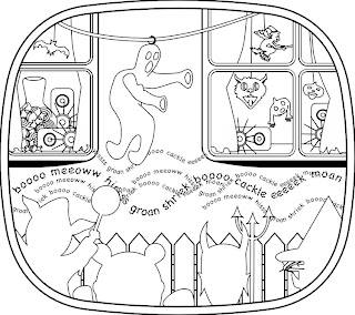 The Pumpkin Dream coloring book (2012) featuring Halloween window display for trick or treat children.