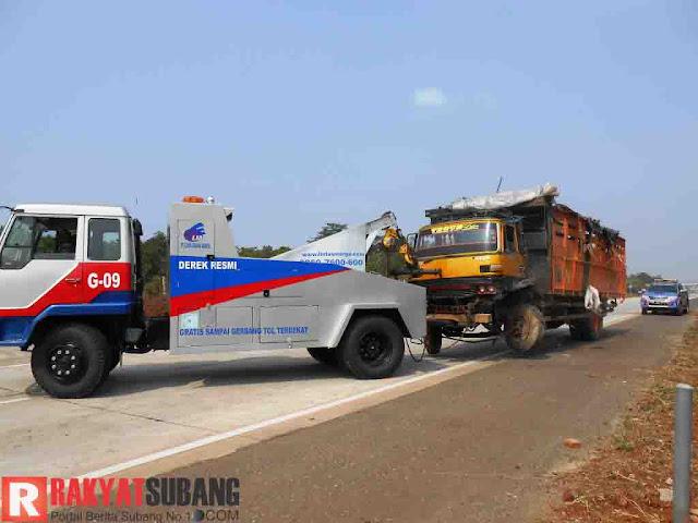 Truk Pengangkut Sapi Kurban Terguling di Tol Cipali