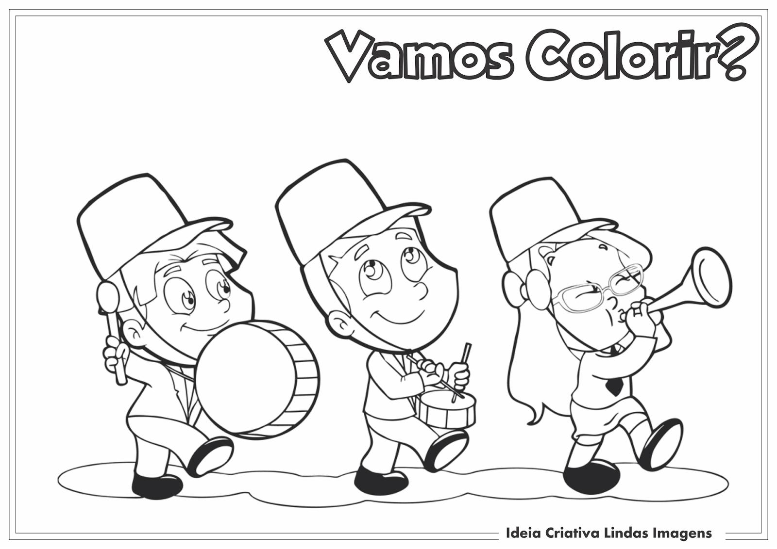 Dia da Independência do Brasil desenho pra colorir