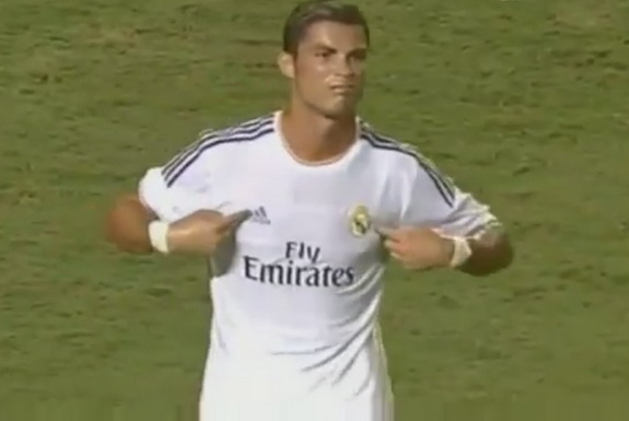 Real Madrid player Cristiano Ronaldo celebrates after scoring a goal against Chelsea