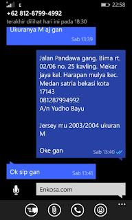Konfirmasi alamat lengkap dan pesanan jersey MU 2003/2004 retro Yudho Bayu di enkosa sport toko online terpercaya lokasi di jakarta pasar tanah abang