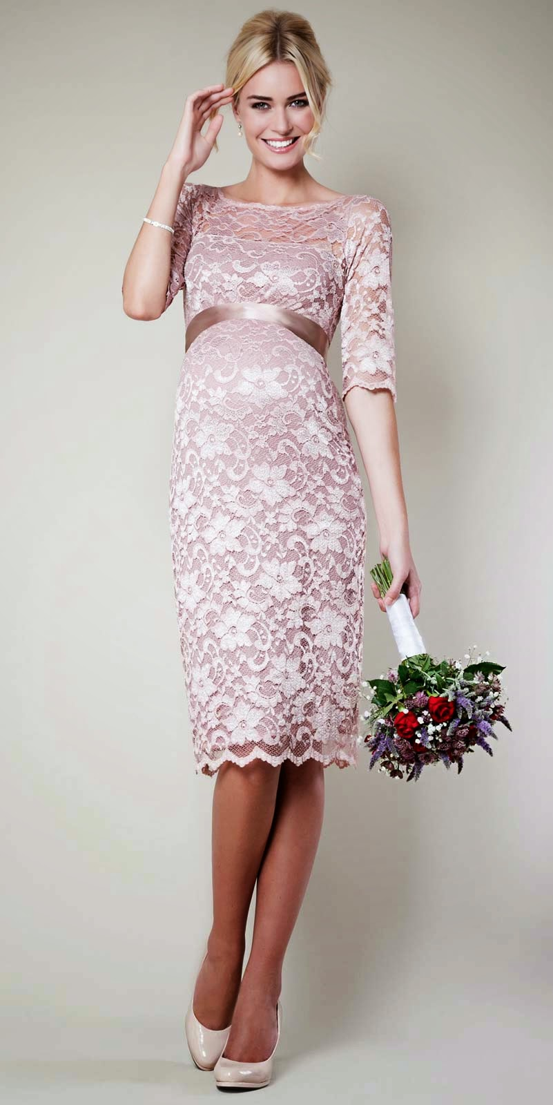 Designer Trendy Pink Maternity Wedding Dresses Photos HD Ideas