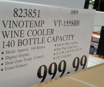 Vinotemp VT-155SBB 140 Bottle Wine Cooler – Dual-zone, accommodates red and white wine