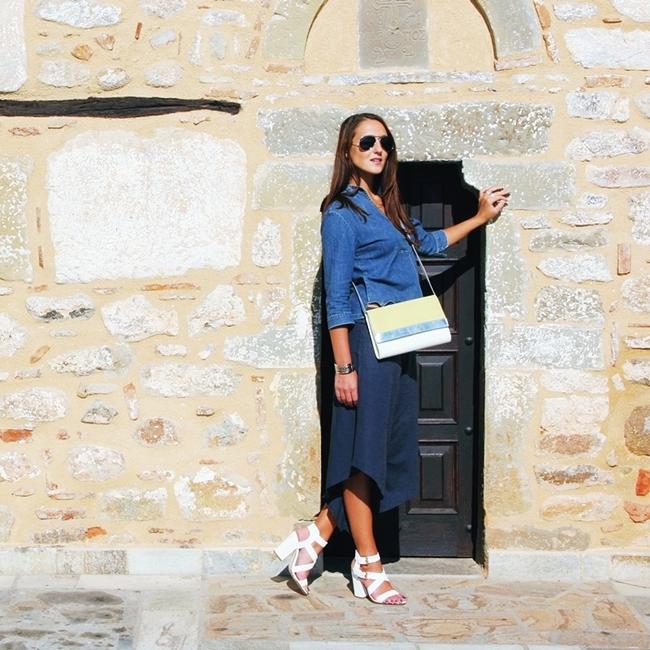 Jelena Zivanovic Instagram @lelazivanovic.Glam fab week.Outfit: Asymmetric culottes and denim top.
