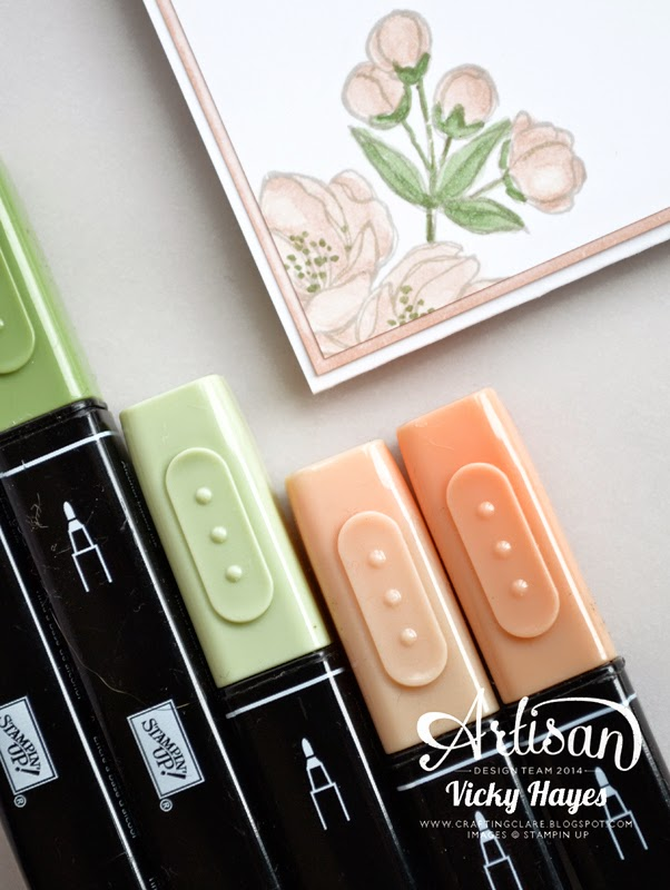 Using Stampin' Up skin tones blendabilities to colour blossom