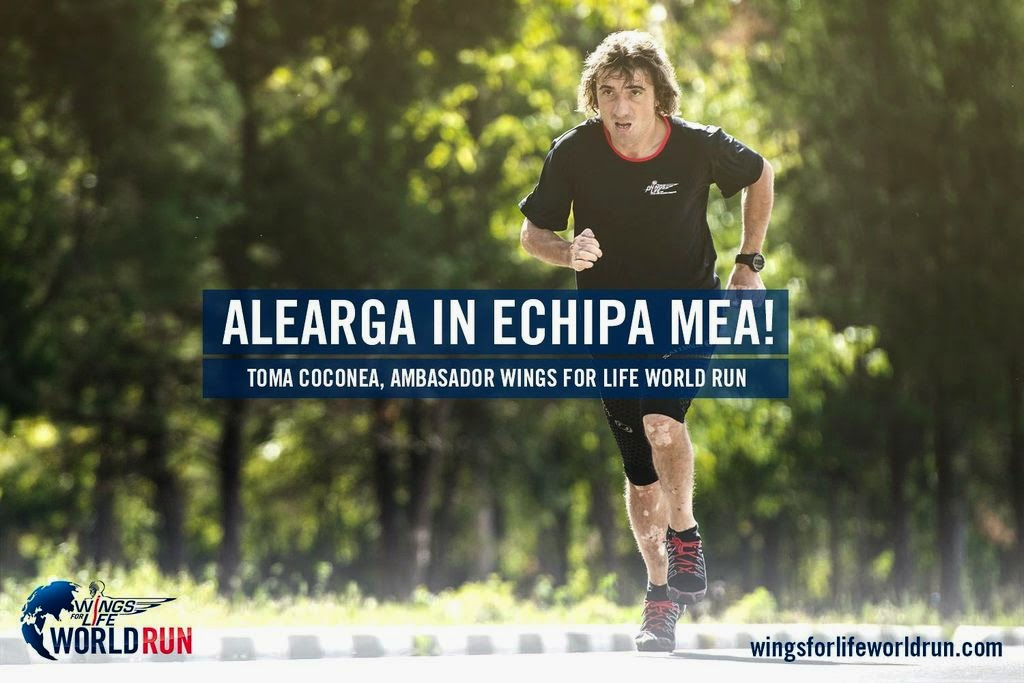 Alatura-te unei echipe la Wings for Life World Run. Toma Coconea
