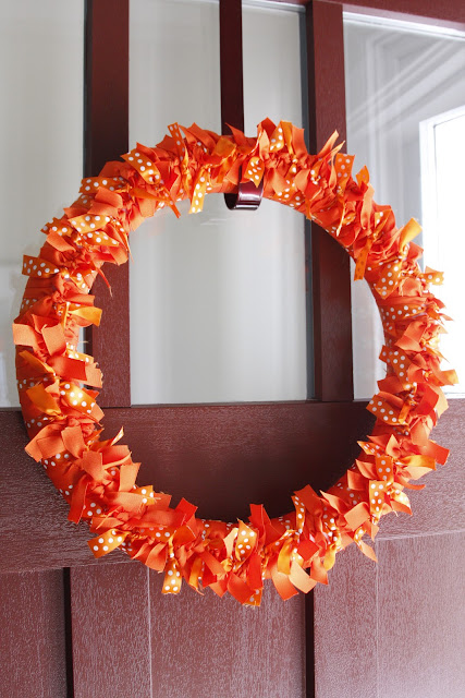 orange ribbon fall wreath