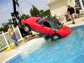Car in a pool
