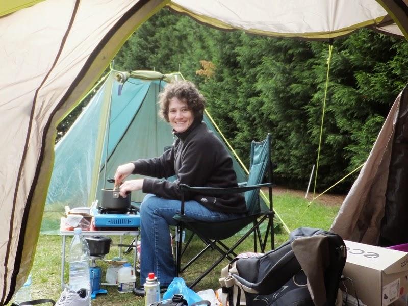 Lola II cooking a la campsite
