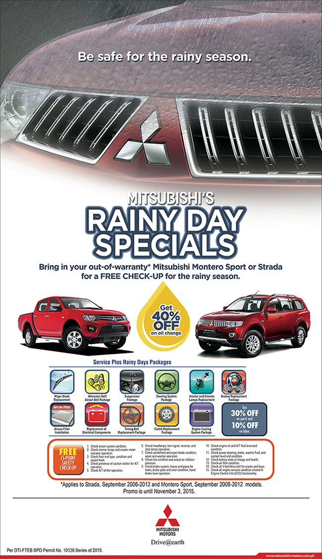 Mitsubishi Rainy Day Specials Promo