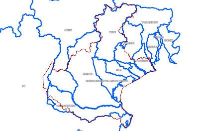 Immagine dei maggiori bacini idrografici del Veneto
