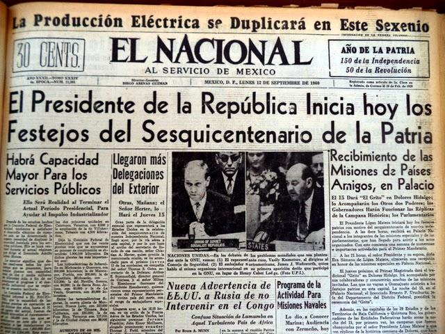 Cabezas De Aguila 1960 Lo Publicado En El Nacional Durante Los Festejos Del Sesquicentenario De La Independencia De Mexico
