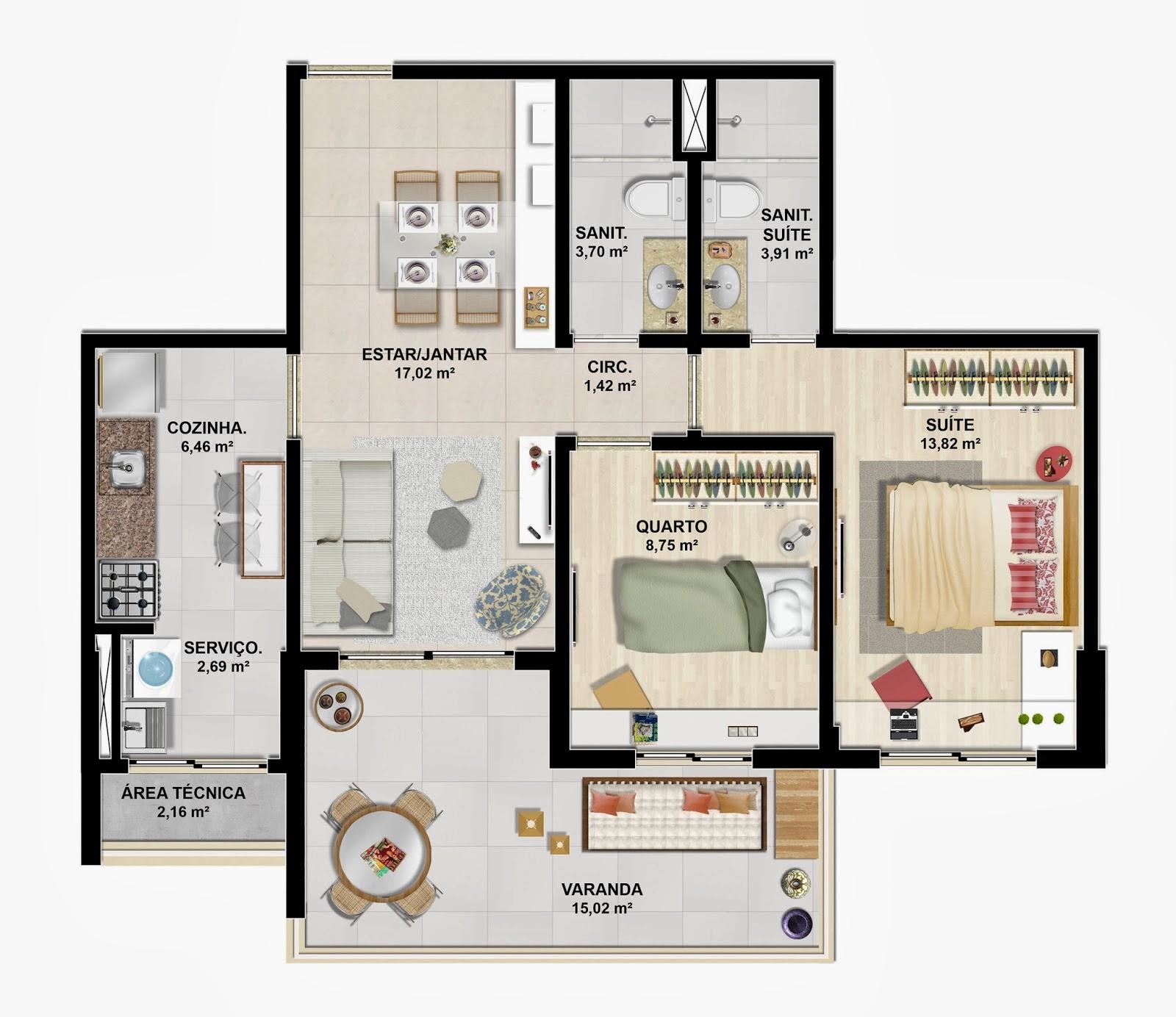 verano residencial - tipo 75m²