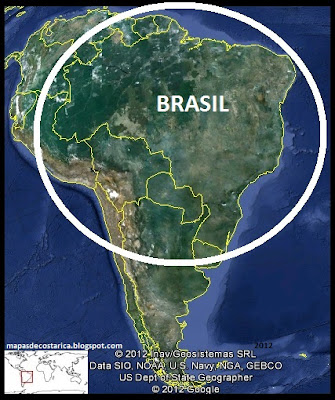 Ubicacin de Brasil en Sudamrica, Google Earth  2012