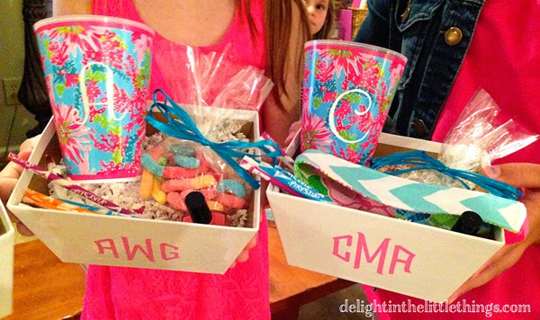 Monogrammed Favor Boxes for Tween Party with Lilly Pulitzer cups | delightinthelittlethings.com