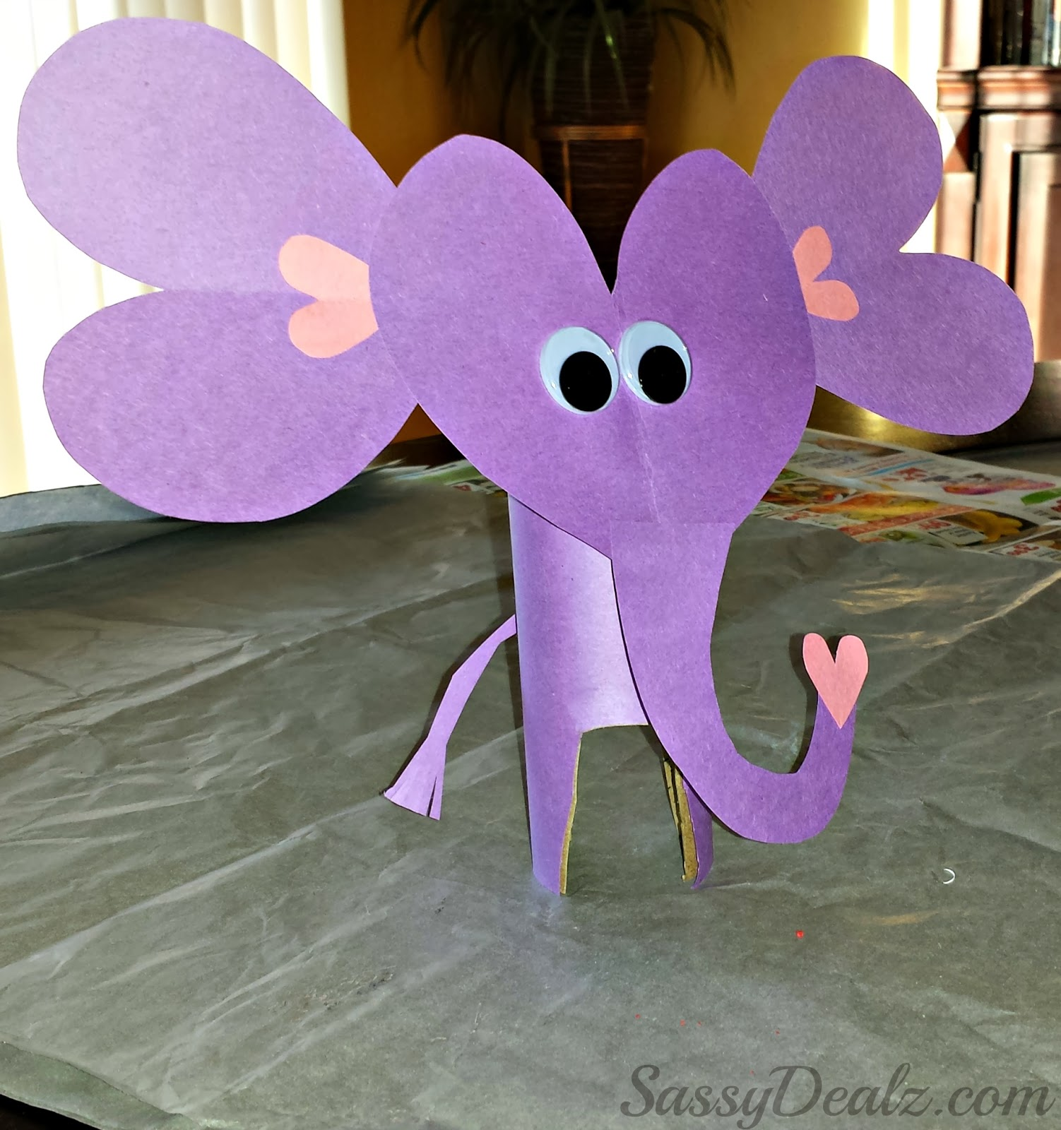 Valentines Day Elephant Craft For Kids Toilet Paper Roll or Card – Elephant Valentines Card