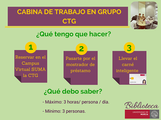 ¿Necesitas reservar las Cabinas de Trabajo en Grupo (CTG)?