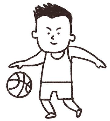 バスケットボール選手のイラスト(スポーツ) モノクロ線画