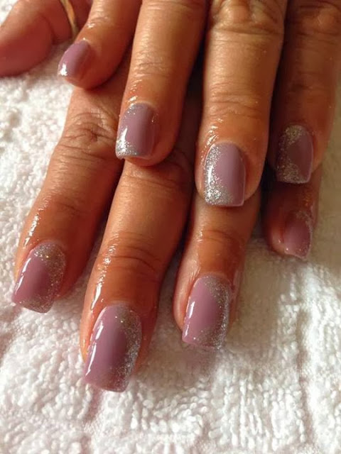 acrylic backfill-glitz French- LED polish 'luscious lilac' manicure with silver haze for feats- Gel-Nails-Polish-LED-Polish-LED-Nails-Acrylic-Nails-Nail-Art