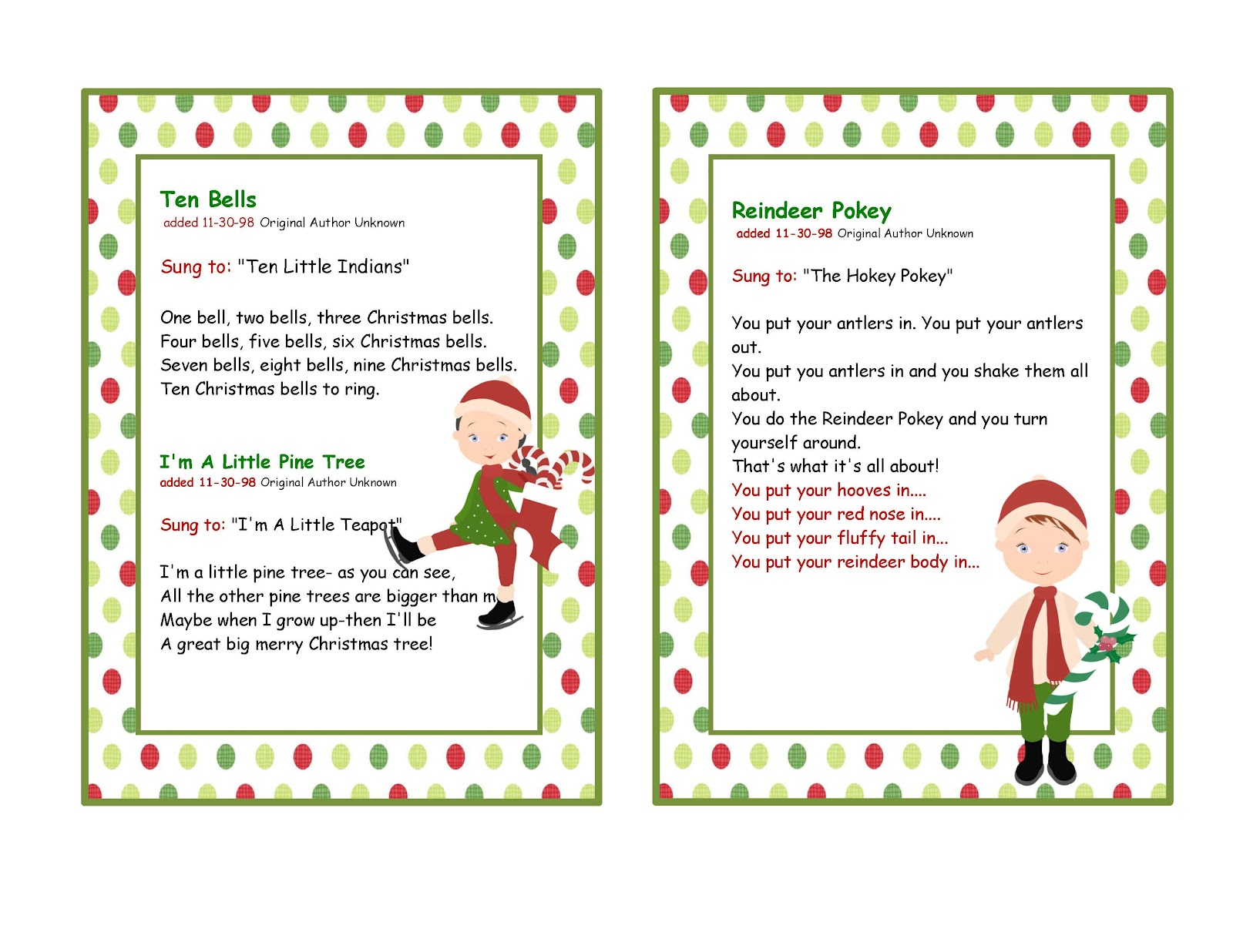 Fun christmas songs to do children preschool printables