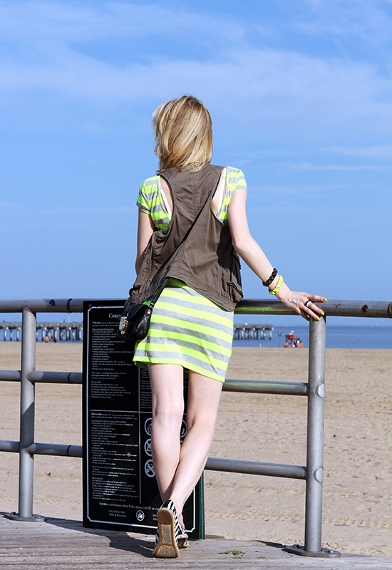 The Wind of Inspiration Outfit of the Day Post - Weekend Uniform - Velvet Torch Stripe Scoop Back Dress Asos Casual Vest Green Etienne Aigner Striped Espadrilles Michael Kors Charlton Crossbody Bag