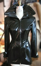 Laurie Borse' designed this Black Duchess silk satin jacket with a vampire collar.