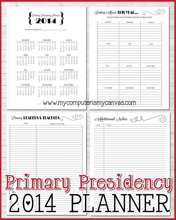 My Computer is My Canvas: 2014 LDS Primary Presidency Planner!