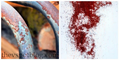 create a faux rust effect using spray paint and salt