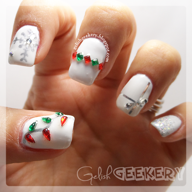 Gelish Christmas Holiday Nails White Snowflake