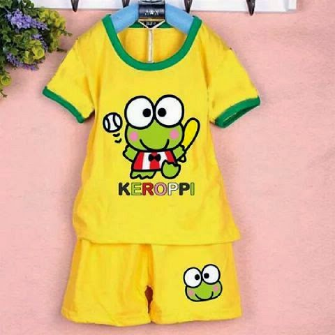 Setelan Anak Keroppi on Yellow - Baju Apinigo - Harga Saudara