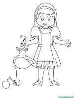 Alice in wonderland memegang seekor bebek