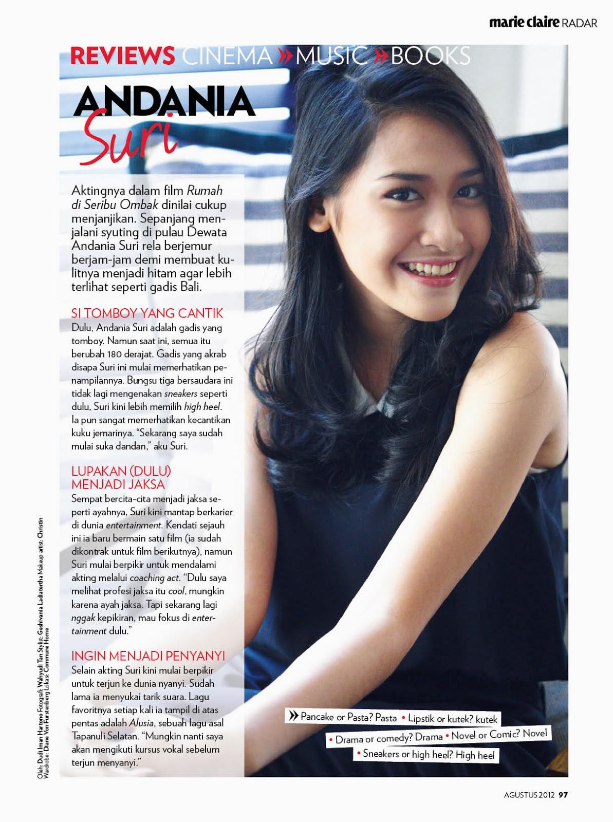 Andania Suri With Marie Claire Indonesia