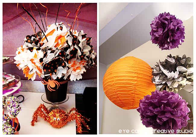 halloween tissue paper bouquet, halloween paper lanterns, spider