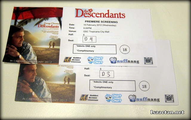 The Descendants 2012 movie tickets