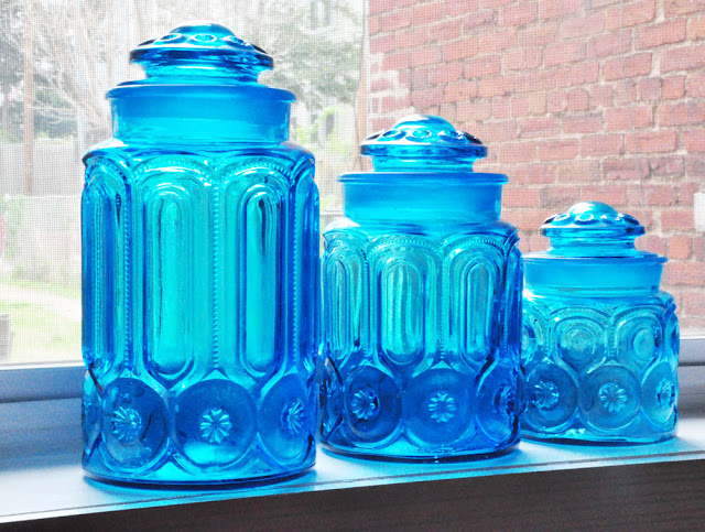 Newbies @ Something Vintage: Turquoise Depression Glass Beauties