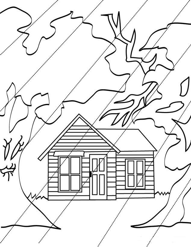 Colorea tus dibujos dibujo de casa bajo la lluvia para colorera - Dibujos para pintar casas ...