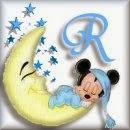 Alfabeto de Mickey Bebé durmiendo en la luna R.