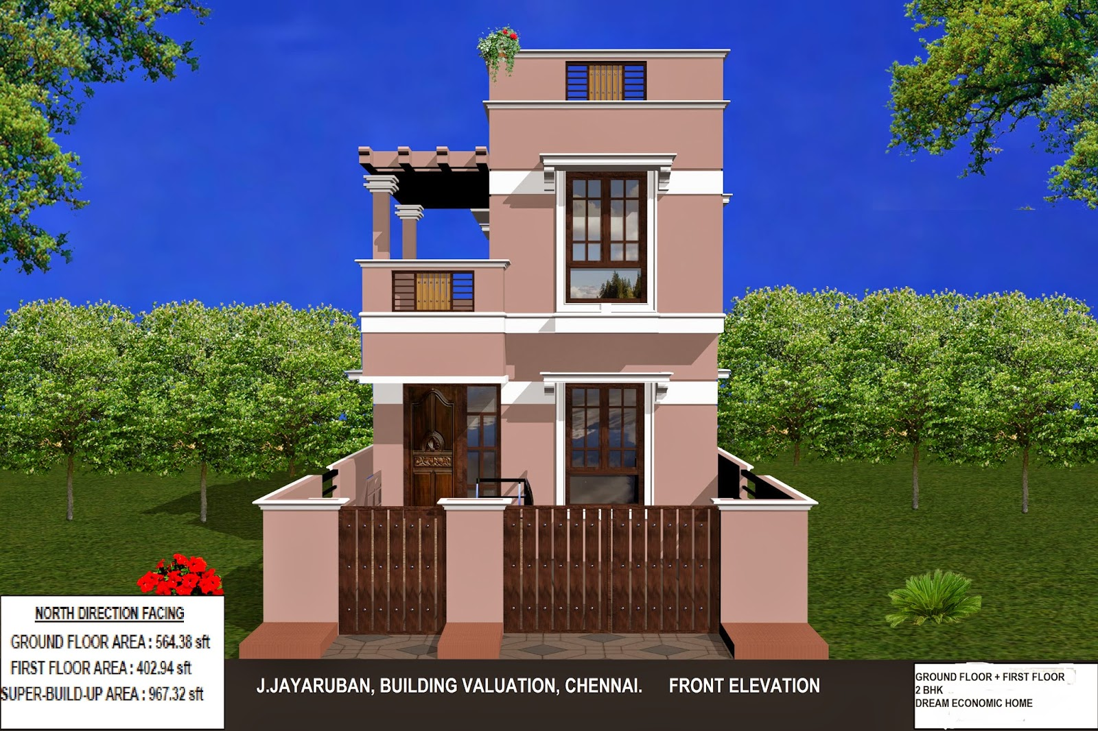 Bhk ground floor plan pictures for Ground floor 3d elevation