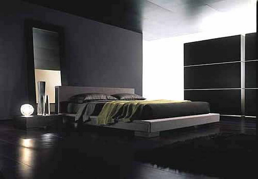 Interior designs bedrooms contemporary black and blue - Dark bedroom designs ...