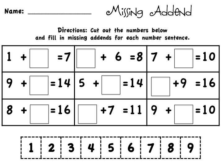 Number Names Worksheets : missing addends worksheet ~ Free ...