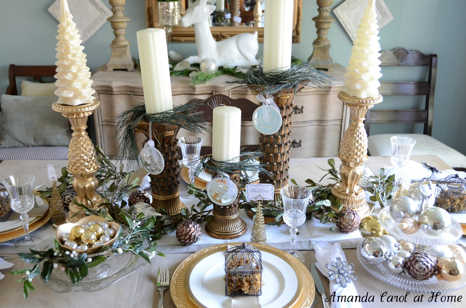 Amanda carol interiors for Dining room tablescapes ideas