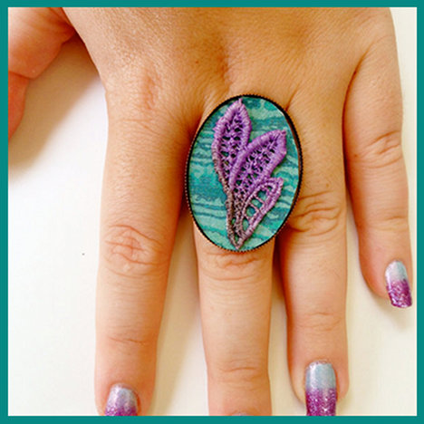 Hand painted lace ring jewelry accessory from White Bear Accessories
