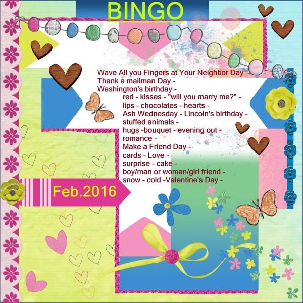Feb.2016 Bingo card