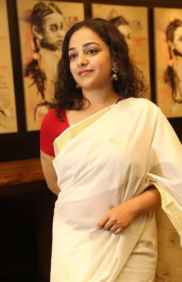Nithya Menen Cute Hot Beautiful Hd Wallpapers In White Saree