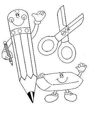 Dibujos de Útiles Escolares - Dibujos para pintar