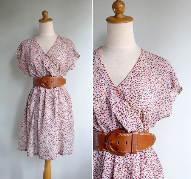 vintage peach crossover v neck dress
