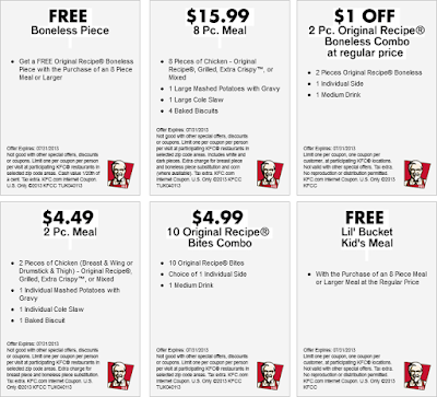 KFC Coupon printable